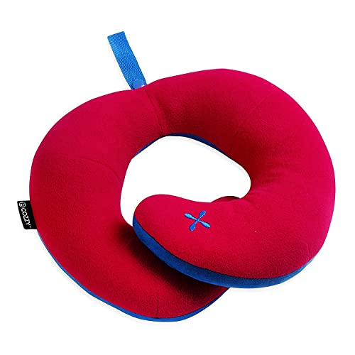 BCOZZY Kids Chin Supporting Travel Neck Pillow - Supports the Head, Neck & Chin. A Patented Product. CHILD Size, RED