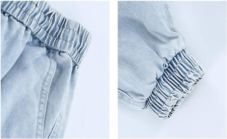 Irypulse Jeans Uomo Pantaloni Denim Cargo Combattere Matita Lavata retr/ò vestibilit/à Classica Abbigliamento Lavoro Casual Multitasche Tendenza Hip Hop Ragazzi Polsini Elasticizzati con Coulisse