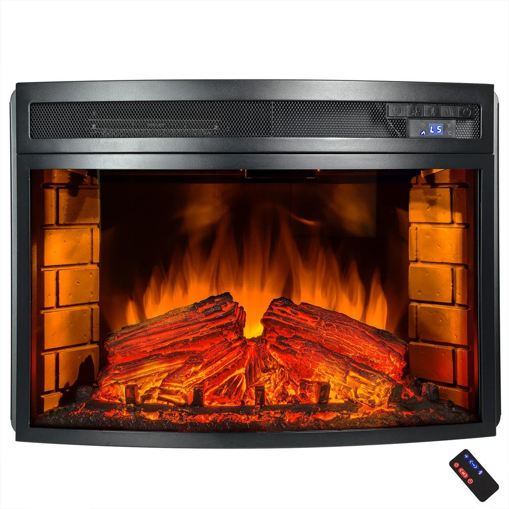 Superieur Freestanding Electric Fireplace Insert Heater In Black With Curved Tempered  Glass And Remote Control: Home U0026 Kitchen