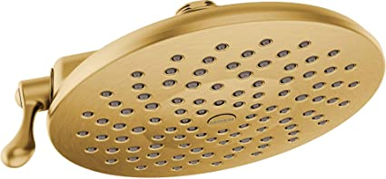 moen s6320bg velocity two function rainshower 8 inch showerhead with immersion technology at 2 5 gpm flow rate, brushed gold moen shower valve moen oxby spot resist brushed nickel 1