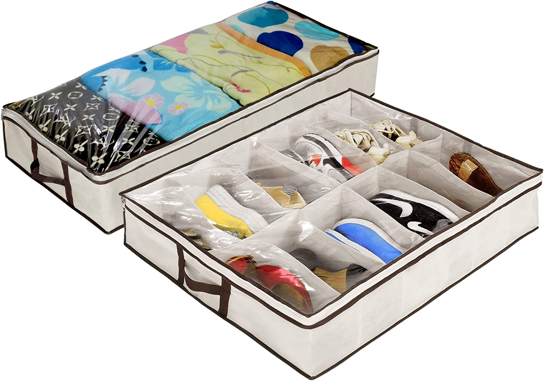 Ziz Home Under Bed Storage Set, Zippered Shoe Organizer & Storage Bag, | for Blanket, Linen, Duvet, Breathable Underbed Storage Bag and Shoe Organizer