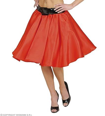 WIDMANN Rock `n Roll falda de satén rojo torcedura Chica. Talla: M ...