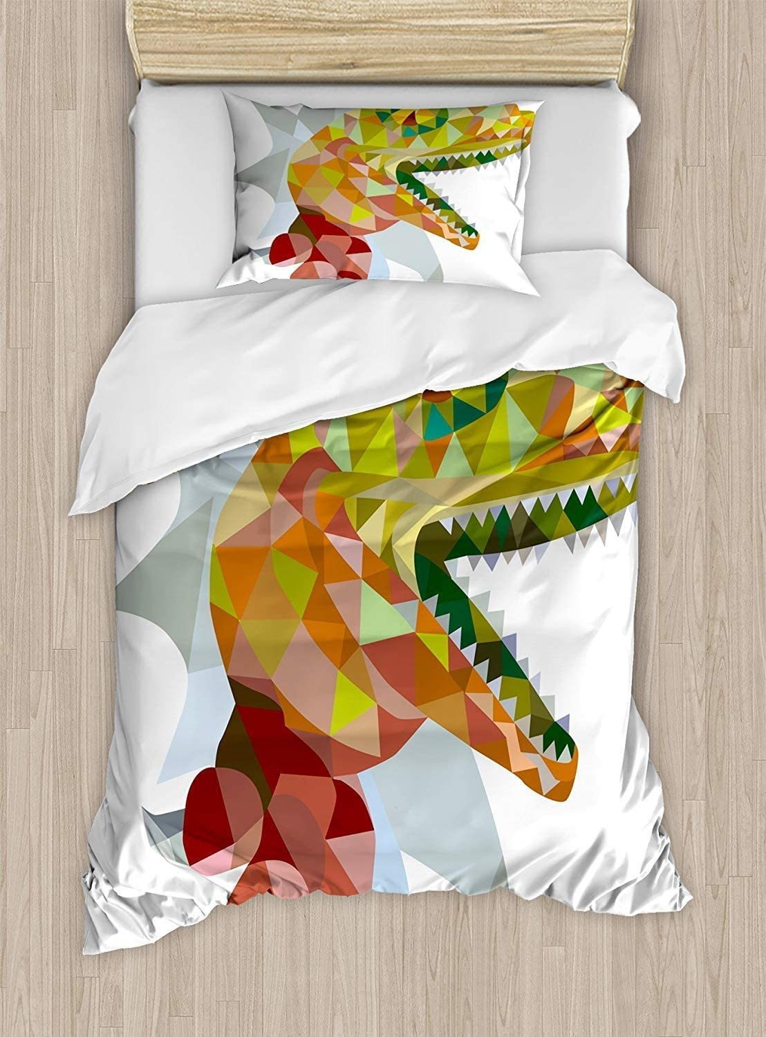 SINOVAL Reptile Duvet Cover Set Twin Size, Colorful Mosaic Wild Trex Illustration Opens Mouth Jurassic Pixel Dinosaur Mascot,Fashion 2 Piece Bedding Set with 1 Pillow Sham, Colorcolor