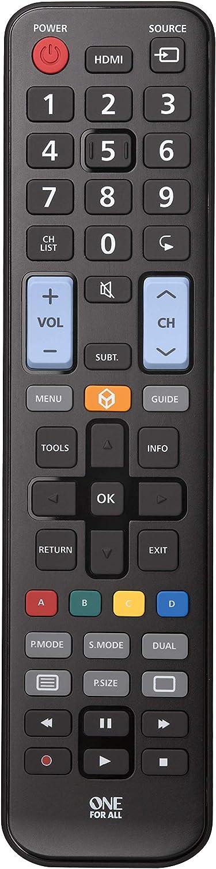 One For All URC1910 - Mando a distancia de reemplazo para Televisores Samsung – Control remoto universal para todo tipo de TVs de la marca Samsung – negro: ONE FOR ALL: Amazon.es: Electrónica