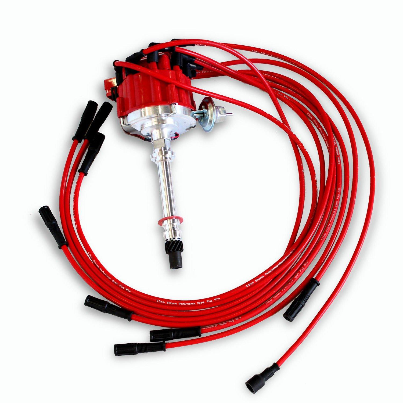 HEI Distributor For Chevy SBC 350 BBC 454 /& 9.5MM Straight Spark Plug Wires Kit