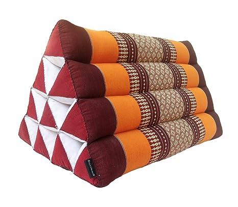 Cojín tradicional de ceiba estilo oriental, diseño triangular para yoga,
