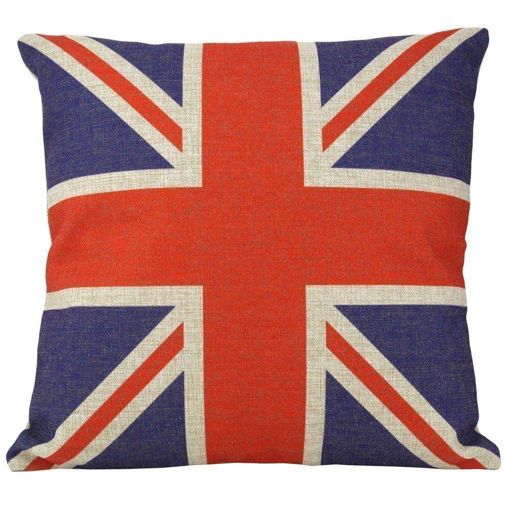 UK Flag Case, Mooncute British Vintage Style Union Jack Flag Throw Pillow Case 18x18 Inch (45x45CM)