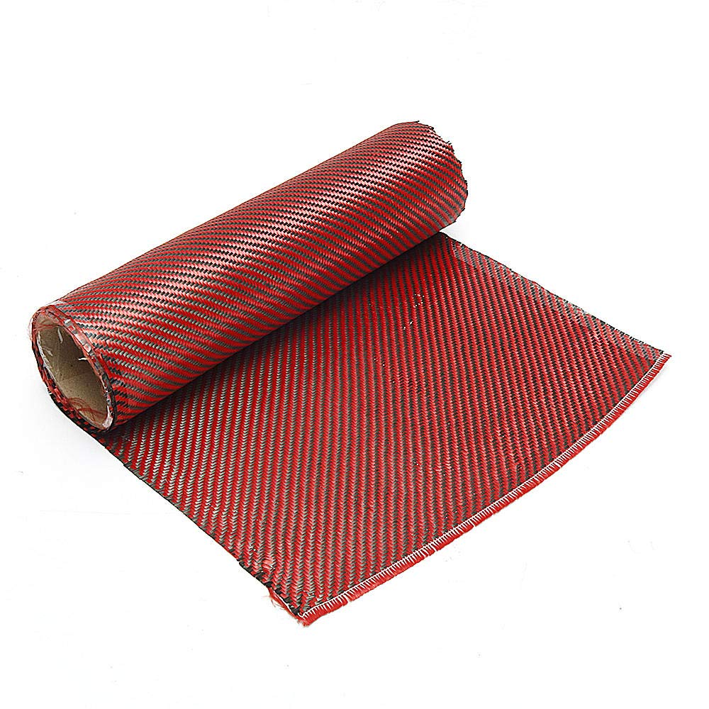 Stock_Home, Raw Materials, 1m 3K 200g Red Carbon Fiber Hybrid Fabric Cloth Twill Weave Cloth High Strength for Building Bridge Construction Repair - (Size: 30cm)