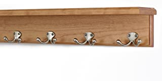 """product image for PegandRail Solid Cherry Shelf Coat Rack with Satin Nickel Double Style Hooks (Cherry, 21"""" with 4 Hooks)"""