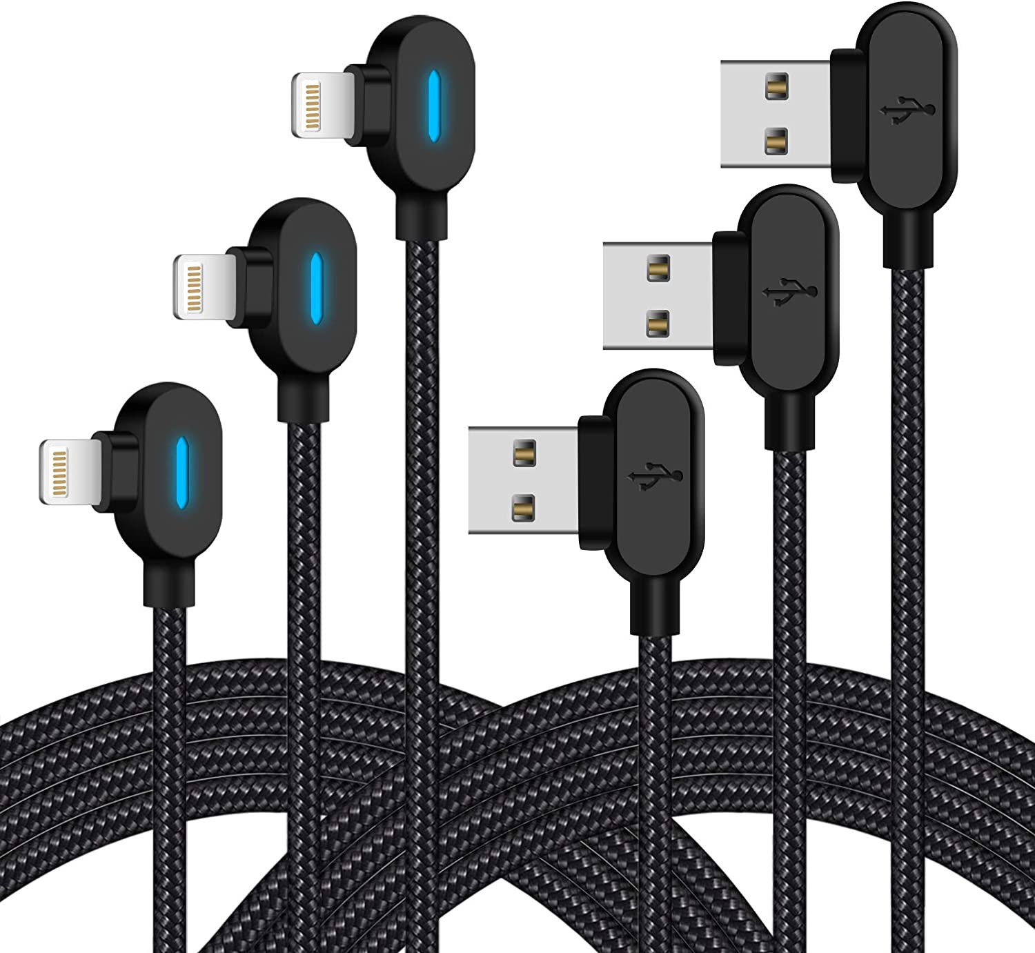 LED iPhone Charger Cable 10 FT 3Pack Right Angle Lightning Cable 90 Degree Nylon Braided Charging Cord Gaming USB Charging/Sync Compatible with iPhone Xs MAX XR X 8 7 6S 6 Plus SE 5S 5C 5, iPad, iPod