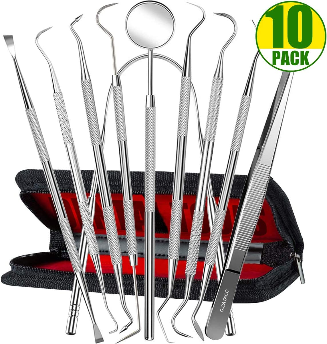 Dental Tools, 10 Pack Teeth Cleaning Tools Professional Stainless Steel Dental Tools with Mouth Mirror, Tweezer, Tongue Scraper, Tartar Scraper for Dentist, Personal Using, Dogs - with Leather Case