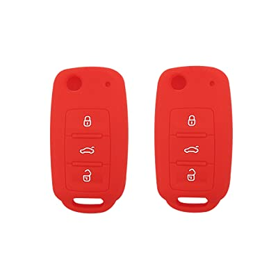 BAR Autotech Remote Key Silicone Rubber Keyless Entry Shell Case Fob and Key Skin Cover fit for VW Volkswagen B5 Golf Polo Passat Jetta (1 Pair) (Red): Car Electronics