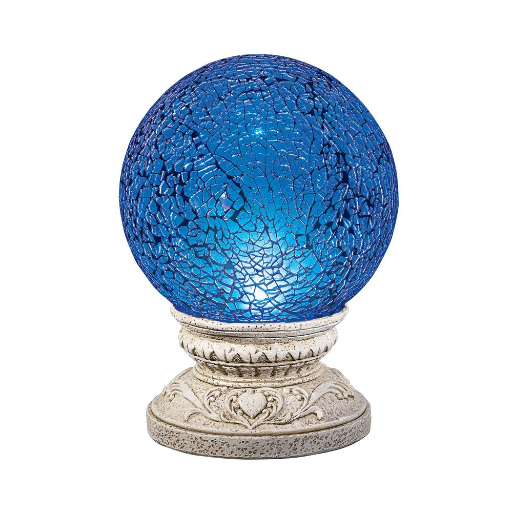 Collections Etc Mystical Solar Light Up Blue Glass Gazing Ball Outdoor Garden Decoration