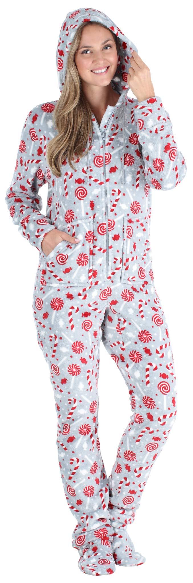 SleepytimePJs Womens Fleece Hooded Footed Onesie Pajama