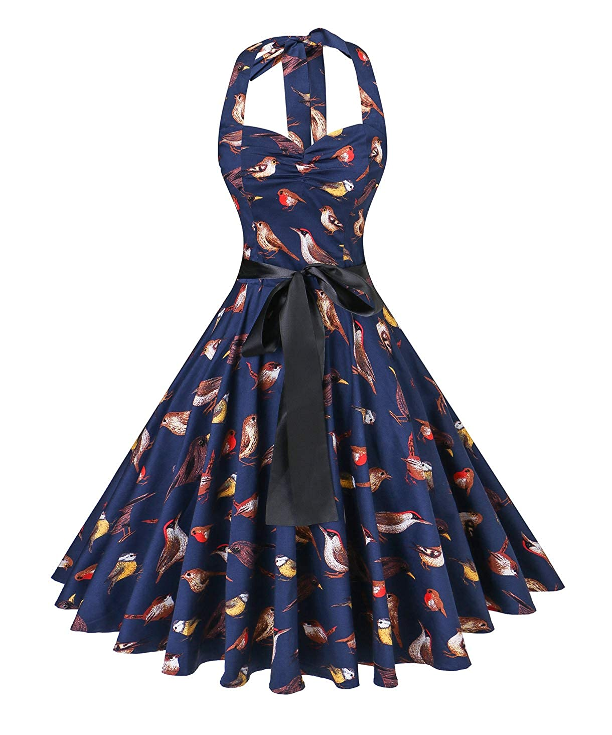 942859634 V fashion Women s Rockabilly 50s Vintage Polka Dots Halter Cocktail Swing  Dress at Amazon Women s Clothing store
