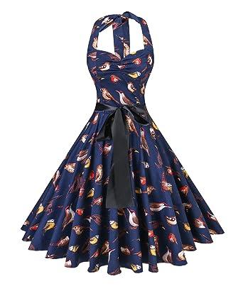 18af700136b V fashion Women s Rockabilly 50s Vintage Polka Dots Halter Cocktail Swing  Dress