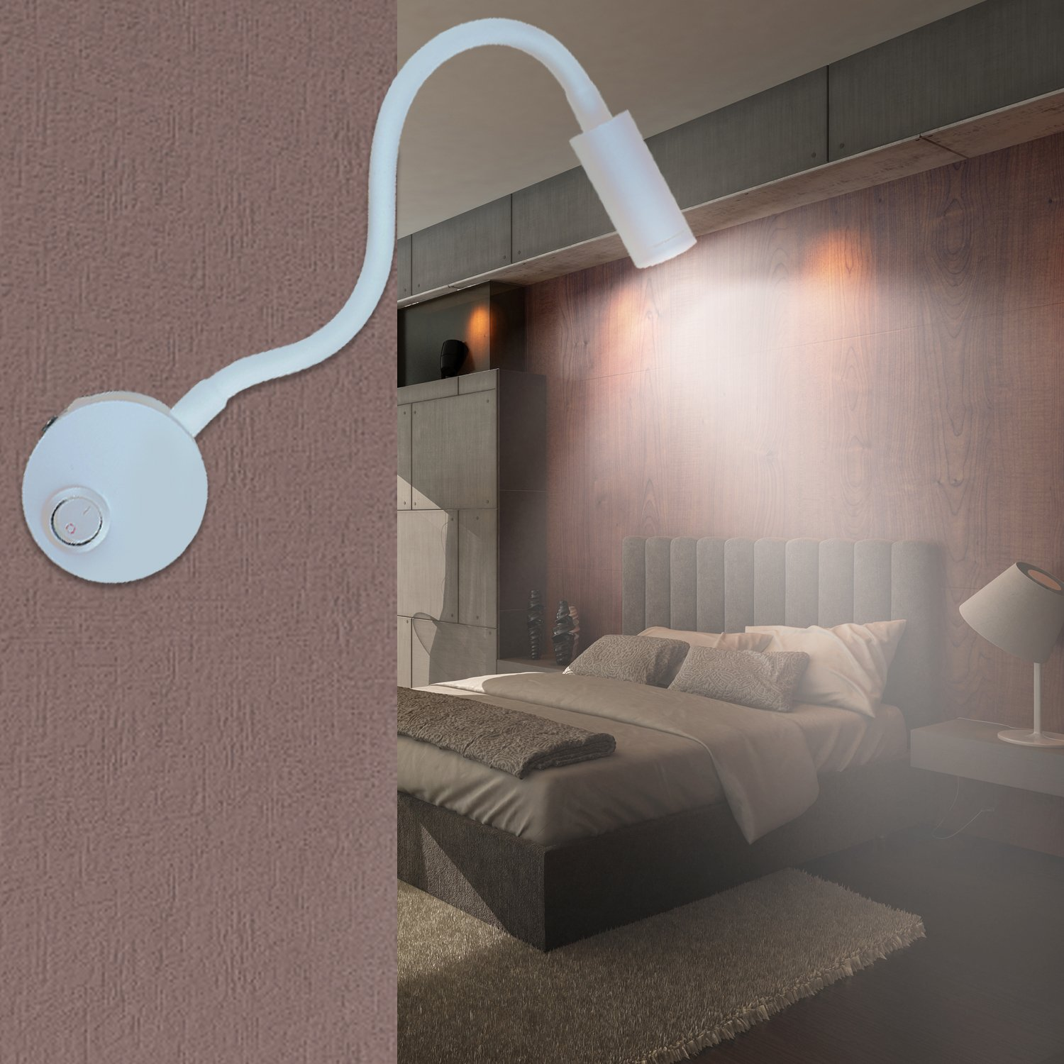 Lanfu LED Wall Lamp, Flexible Wall Mounted Sconce Lighting, Wall Bracket Night Reading Light with Switch and Plug in Cord for Bedroom Living Room or Kid Room, White