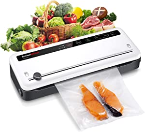 Food Saver Vacuum Sealer Machine For Food, Vaccume Sealer Machine Built in Air Sealing System with Vacuum Sealer Kits, Avoid Dehydration n Freezer Burn, Dry/Moist Model For Sous Vide-'BZ-US-VS3801-WHITE-NEW