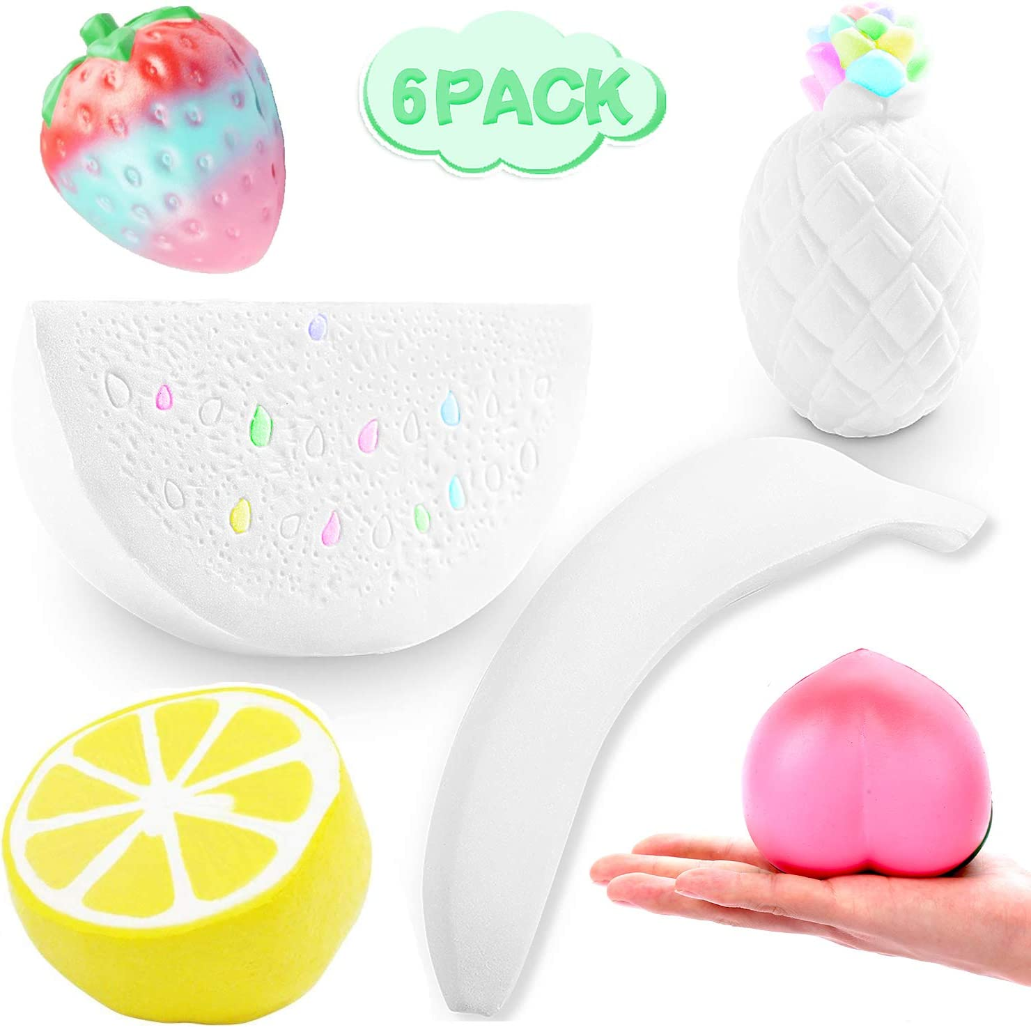 6PCS DIY Squishy Paint Your Own Squishies Kit, Top Kids Arts and Crafts Toy, Slow Rising Strawberry Peach Banana Lemon Watermelon Pineapple DIY Fruit Squishies Cream Scented Kawaii Toys for Adults
