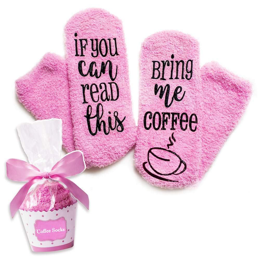 """Xpeciall Gift CoffeeSocks""""If You Can Read This – Bring Me Coffee"""" Funny Novelty Luxury Socks – Coffee Lovers Gifts for Women Under 25 Dollars (Pink)"""