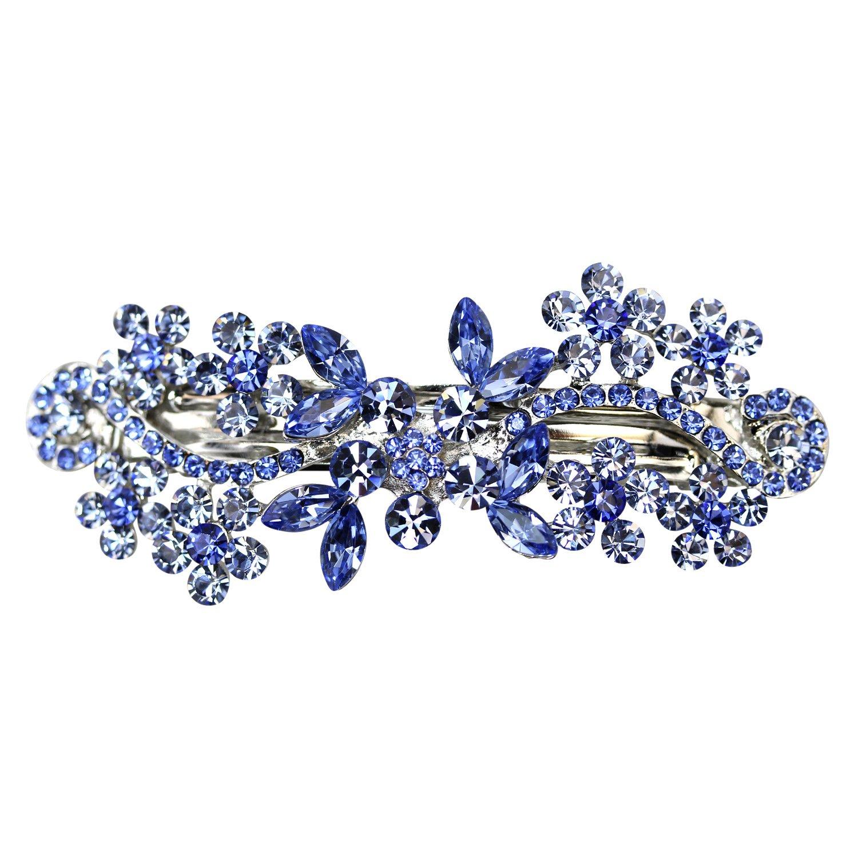 Faship Gorgeous Blue Crystal Flower Barrette Clip