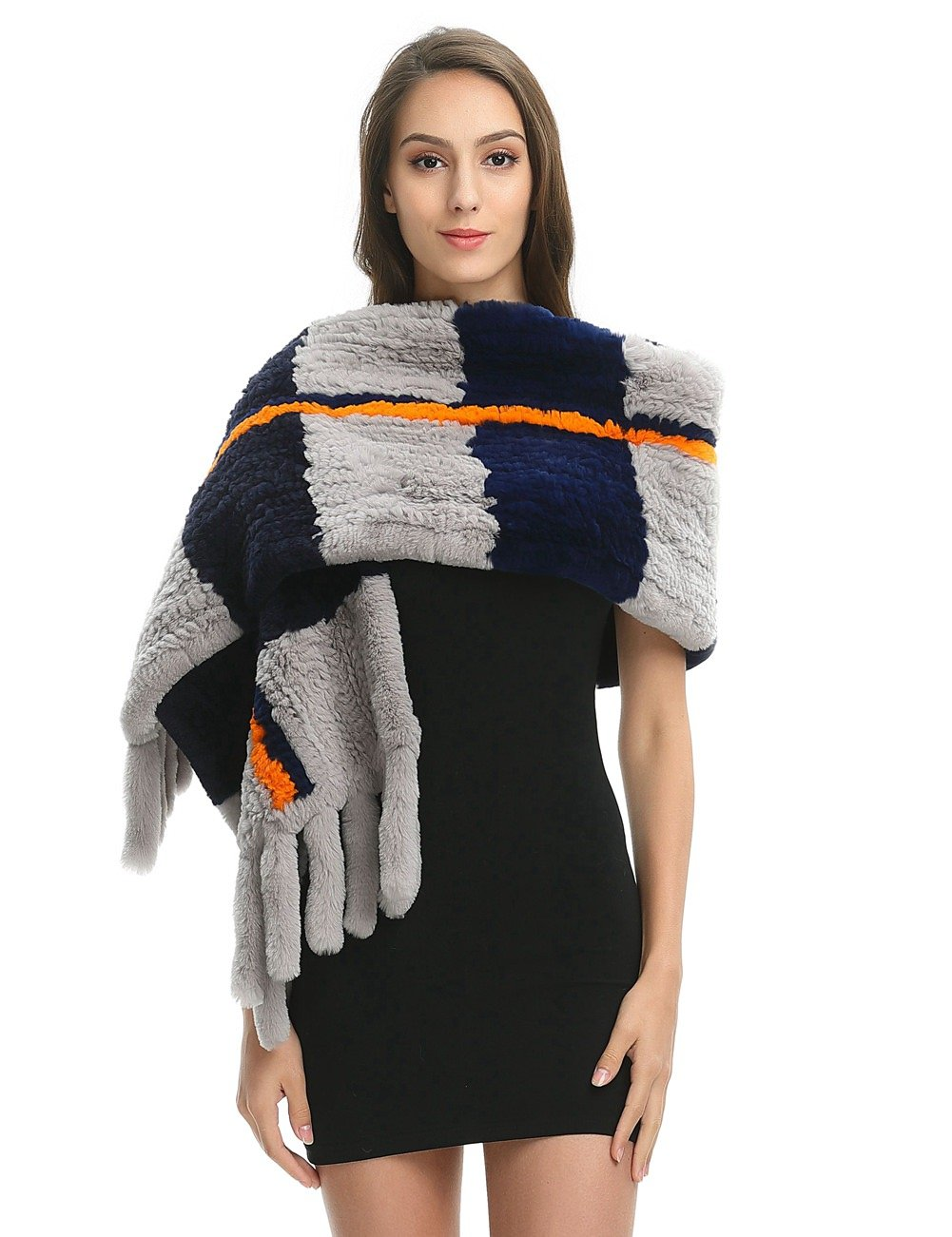 Ferand Women's Luxury Soft Genuine Rex Rabbit Fur Warm Shawl Scarf With Tassels for Winter, One size, Multicoloured navy blue(Rex rabbit fur)