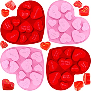 4 Pieces 10 Holes Heart Shaped Silicone Mold Valentine's Conversation Candy Heart Mold Non-Stick Silicone Fondant Baking Mold Jelly Pudding Dessert Mold for Baking Chocolate Dessert (Red, Pink)