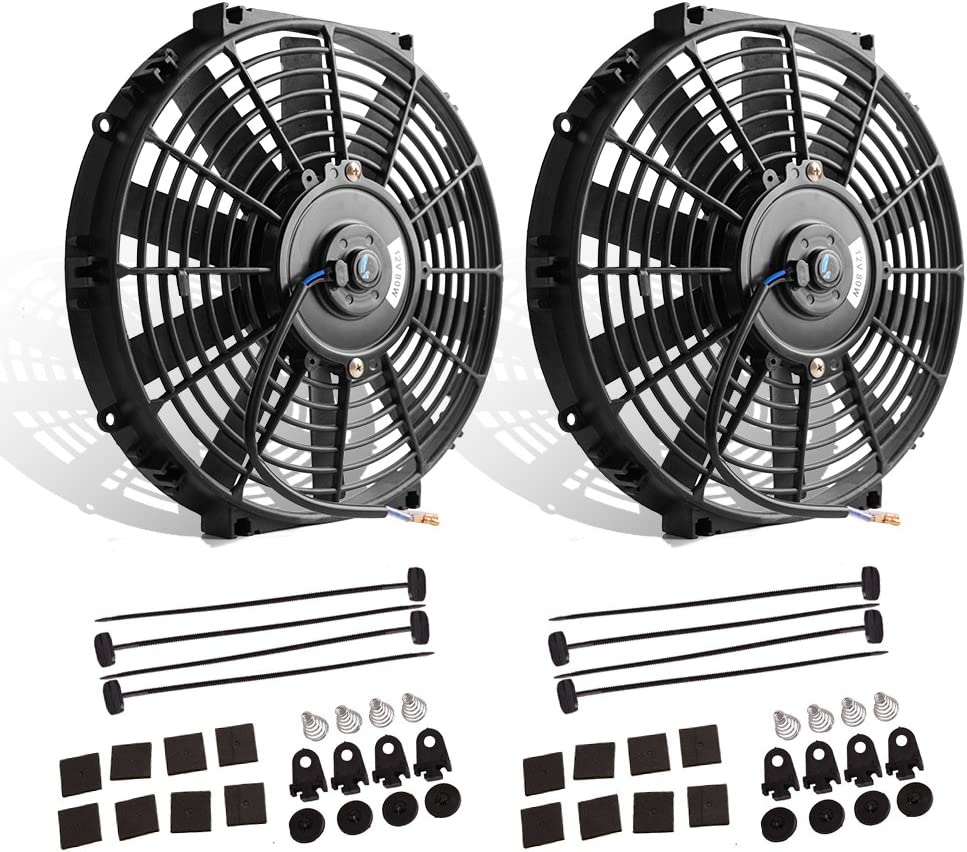 "(Pack of 2) 12"" High Performance Electric Radiator Cooling Fan Push Pull Slim 12V 80W 1550 CFM with Mounting Kit(Diameter 11.73"" Depth 2.56"") 71gwZmBEhIL"