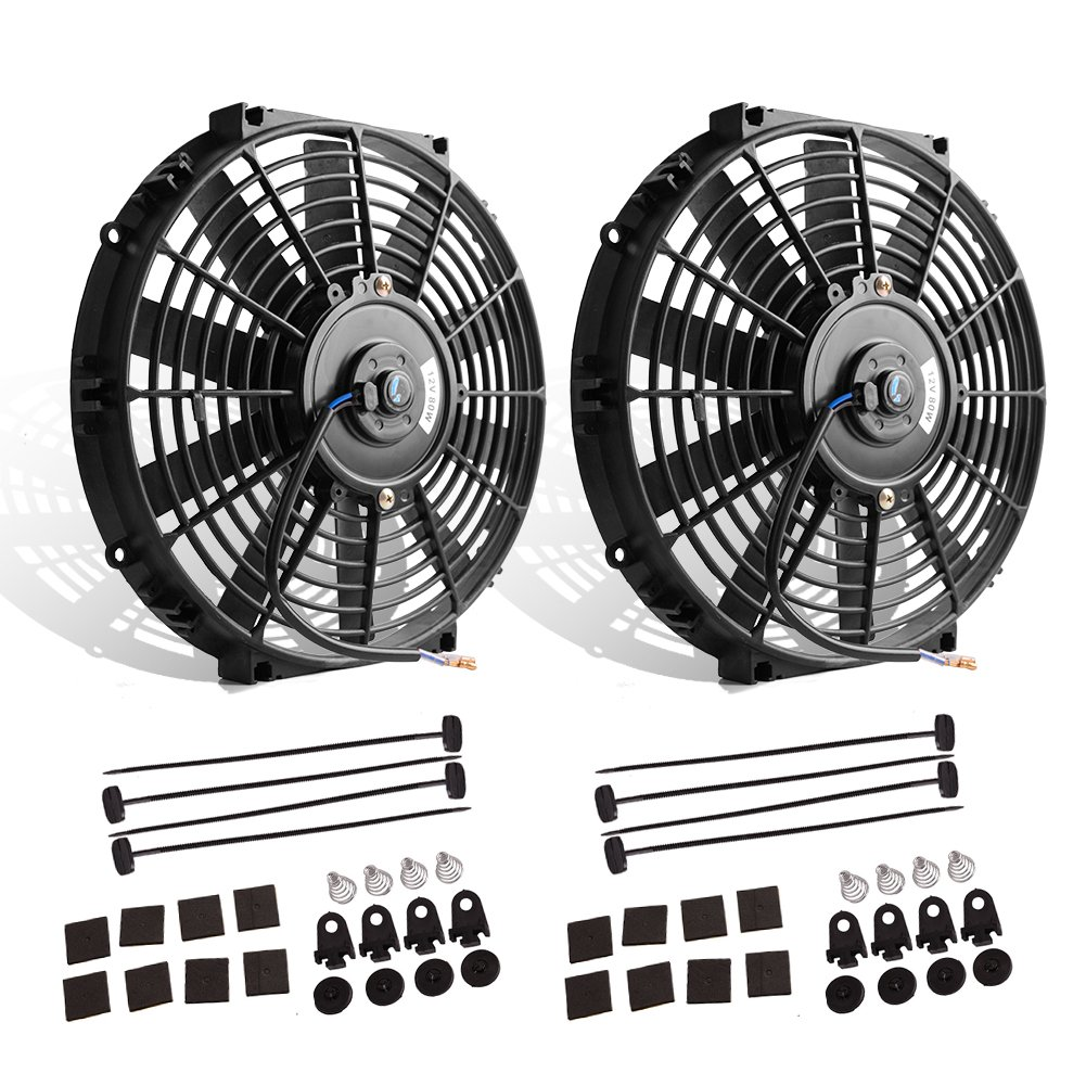 "12"" High Performance Electric Cooling Fan Push Pull Electric Radiator Slim Fan 12V 80W 1550 CFM with Mounting Kit (Diameter 11.73"" Depth 2.56"")"