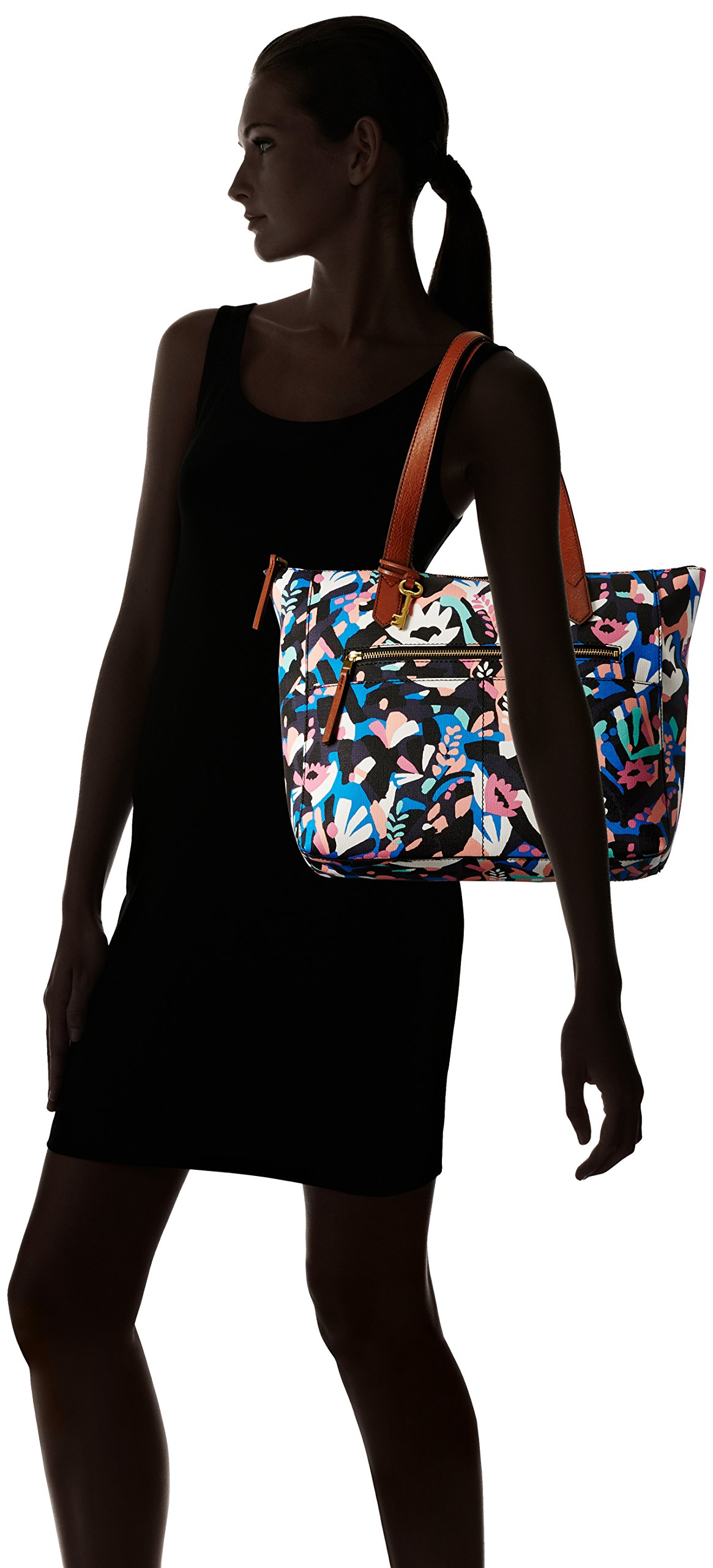 Fossil Fiona E/W Tote Bag, Black Floral,One Size by Fossil (Image #6)