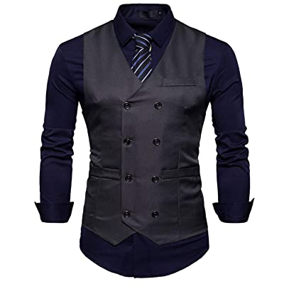 AIEOE Men's Suit Vest Double Breasted Business Formal Dress Waistcoat Vest for Suit or Tuxedo at Men's Clothing store
