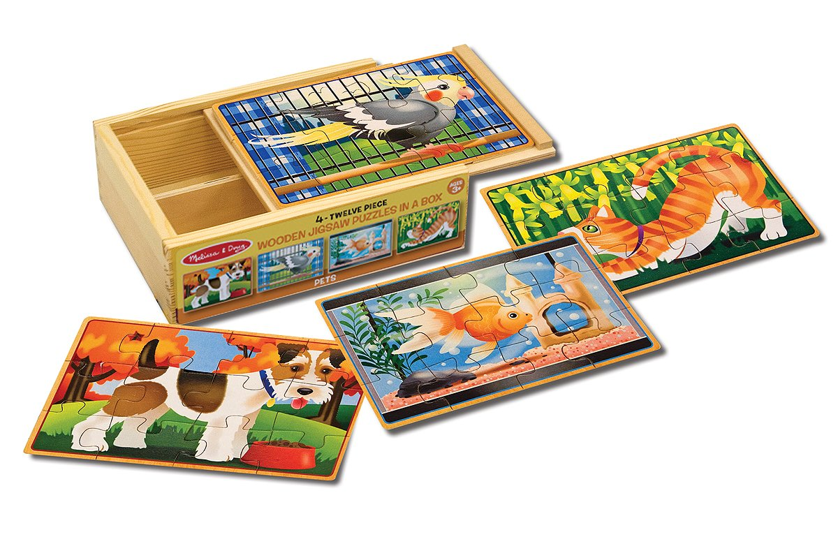 Melissa & Doug Vehicles 4-in-1 Pets Jigsaw Puzzles in a Storage Box (48 pcs)