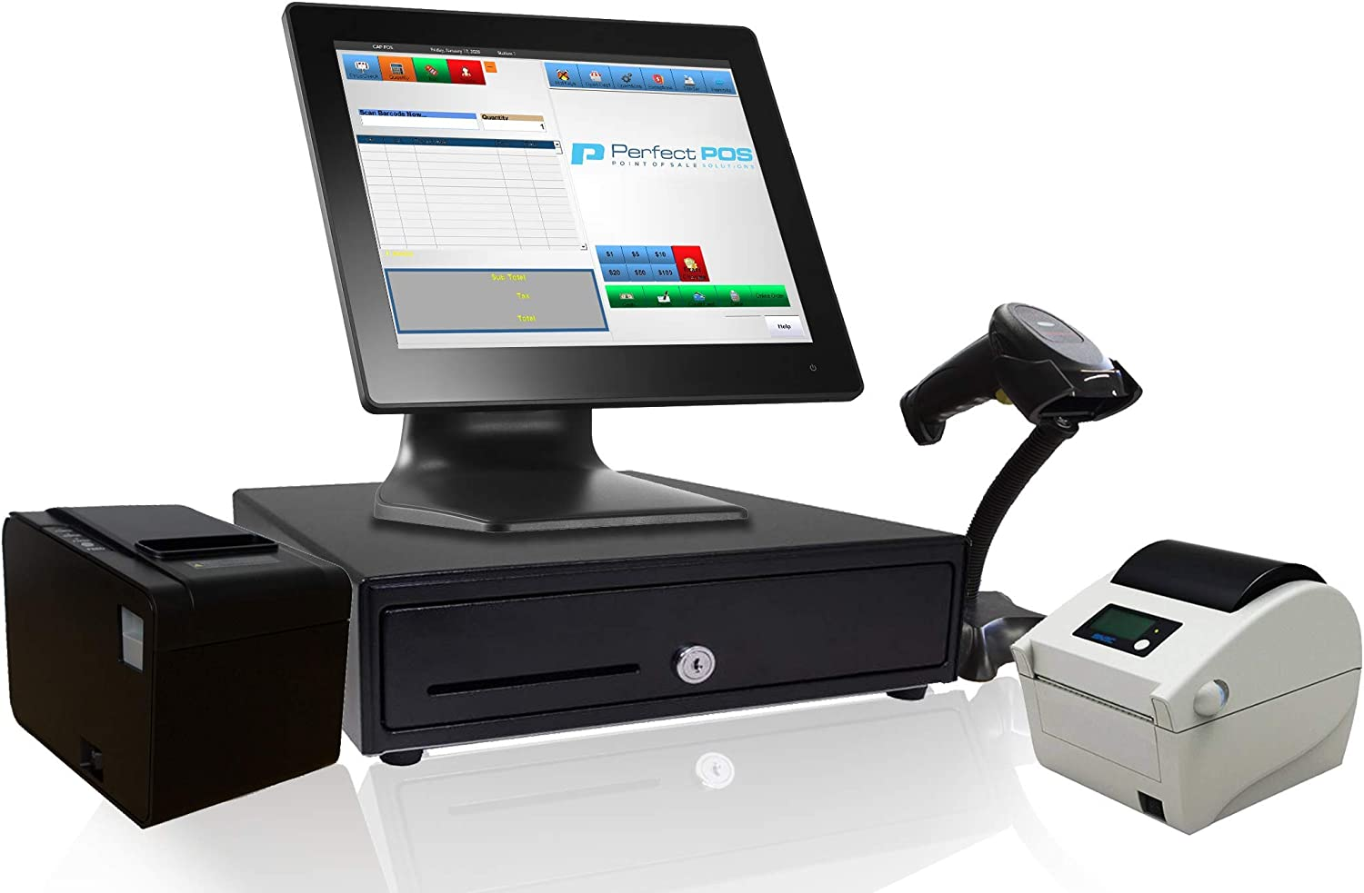 Point of Sale POS System Includes Software Barcode Scanner Thermal Printer Cash by NamesBrand White