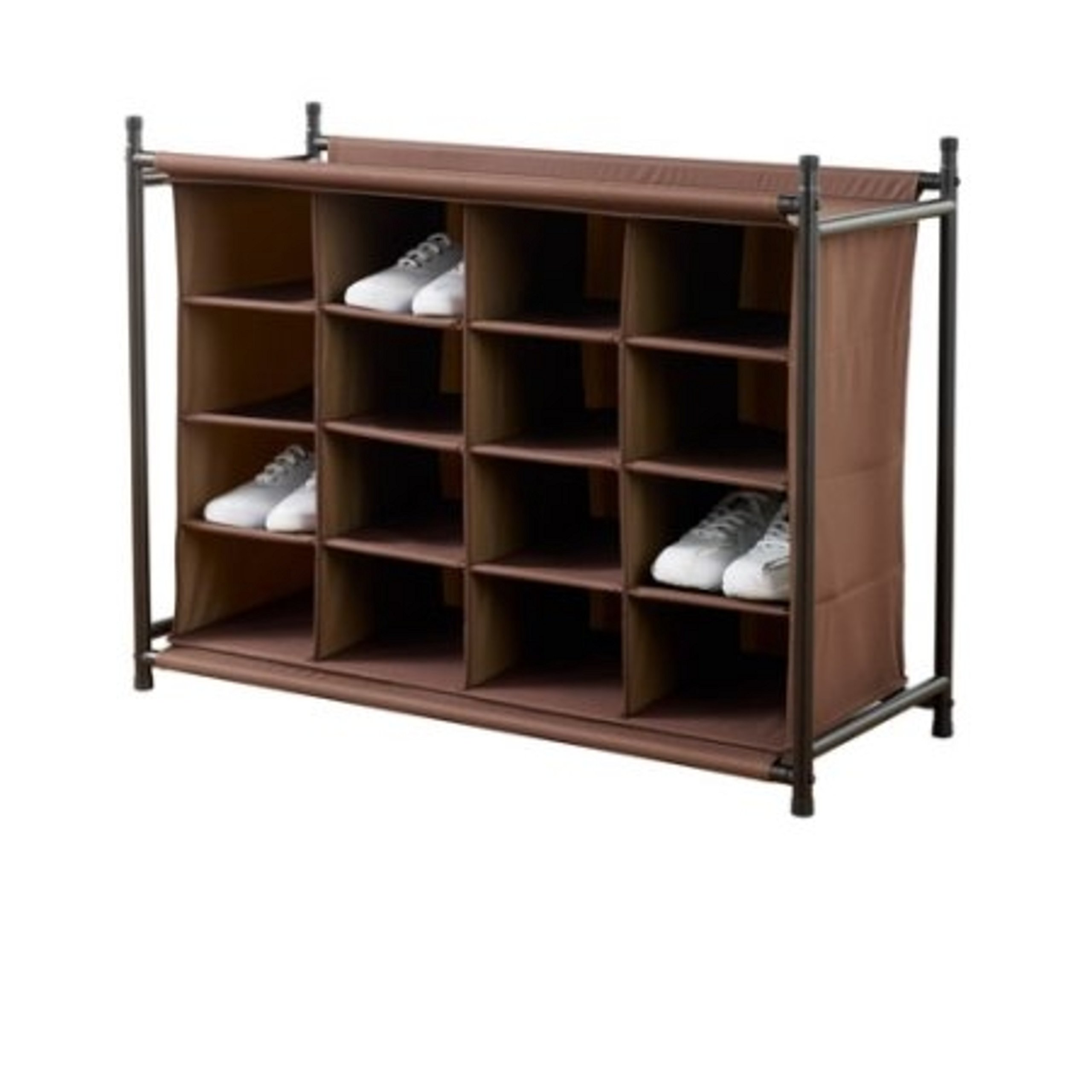 Stylish 16-Cubby Compartments Freestanding Fabric Brown Shoe Rack