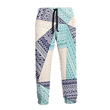 Patrón Tribal geométrico Azul y Blanco Mujeres/Hombres Pantalones ...
