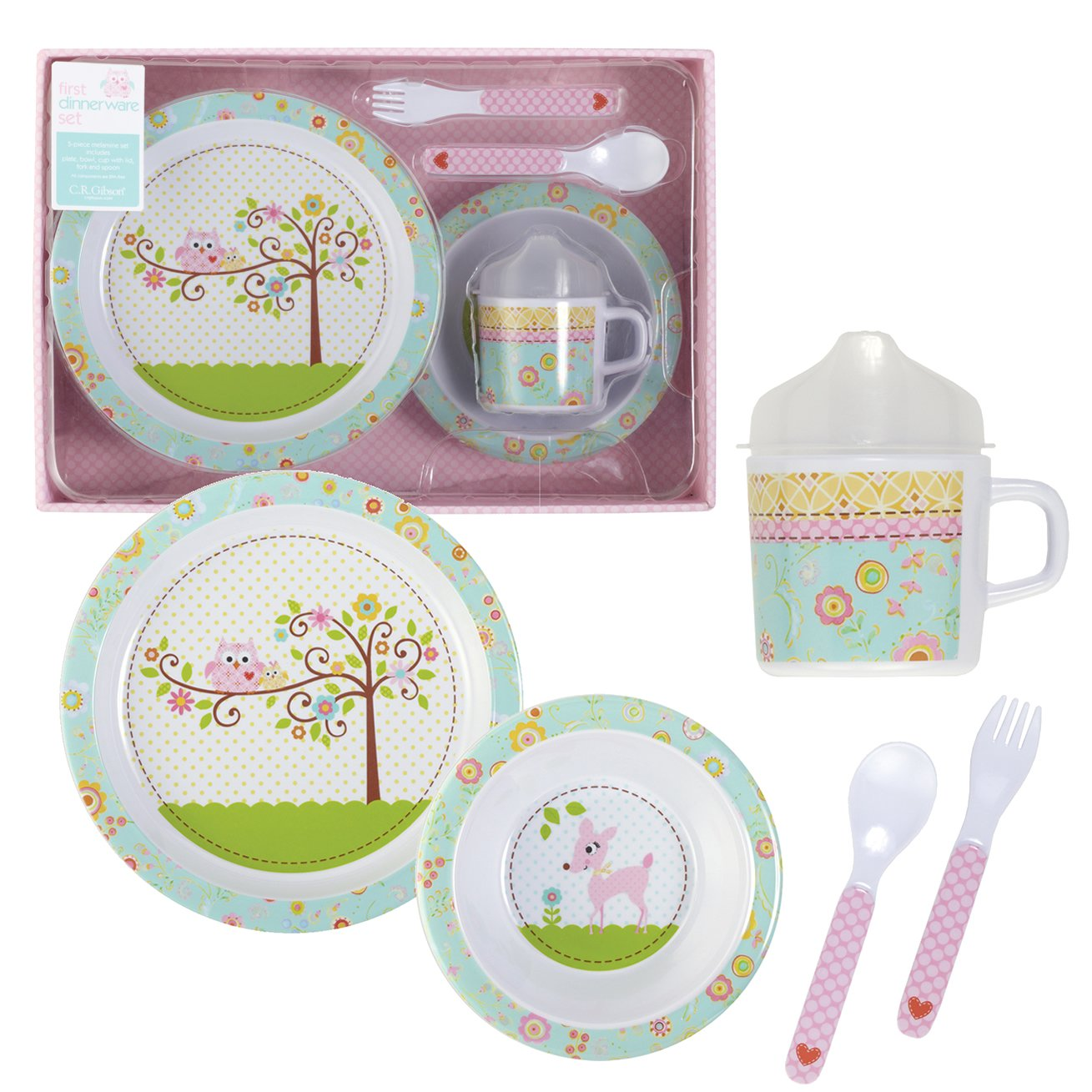 Amazon.com  C.R. Gibson 5 Piece Kids Dinnerware Set FDA Approved Melamine BPA Free Dishwasher Safe- Happi Baby Girl  Kid Plates Melamine  Baby  sc 1 st  Amazon.com & Amazon.com : C.R. Gibson 5 Piece Kids Dinnerware Set FDA Approved ...