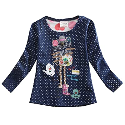 JUXINSU Toddler Girl Long Sleeve t-Shirt Cotton Point for 2-7 Years F2101: Clothing