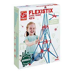 Hape Bamboo Eiffel Tower Building Kit, Safe and Fun Bamboo and Connectors Set - Colorful Construction Builders for Motor Skills Development,STEM Toys, 62 Pieces
