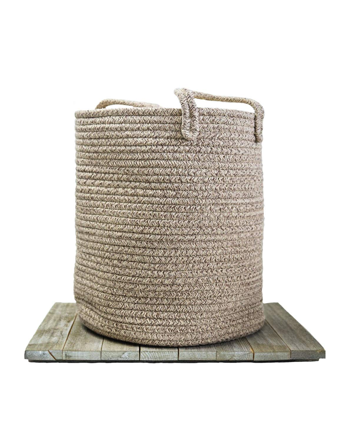 Cotton Rope Baby Basket - Decorative Woodland Nursery Organizer/Woven Baby Basket for Toys, Baby Essentials, Blankets - Boho Nursery Decor Piece - Baby Furniture - Baby Registry