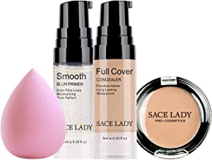 Waterproof Full Coverage Concealer With Primer Sponge Set, Smooth Matte Flawless Creamy Liquid Foundation Corrector Makeup Kit for Face Eye Dark Circles Spot Acne Scar Cover (Honey, Travel Size)