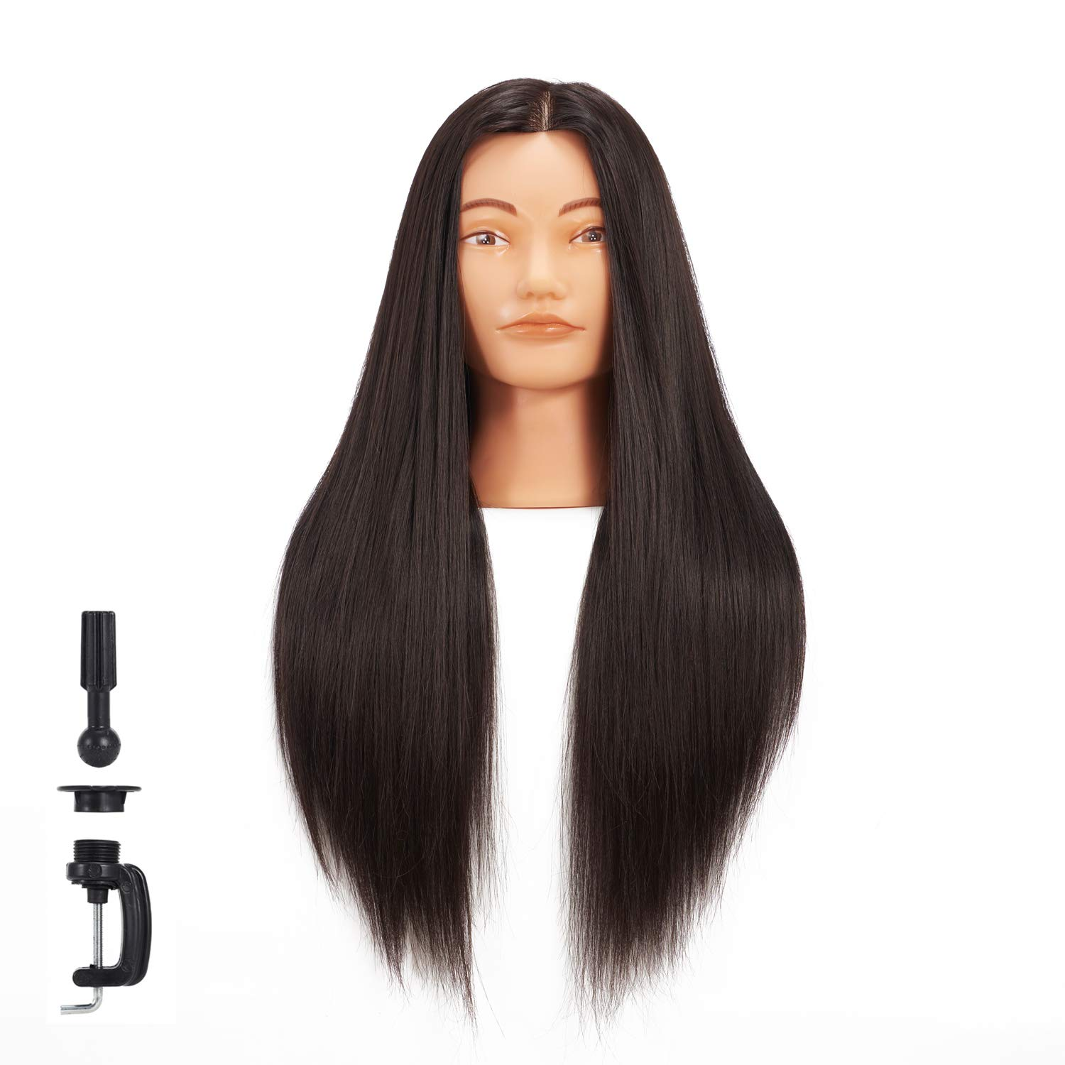 Hairginkgo Mannequin Head 26''-28'' Super Long Synthetic Fiber Hair Manikin Head Styling Hairdresser Training Head Cosmetology Doll Head for Cutting Braiding Practice with Clamp (92019D0220) by HAIRGINKGO
