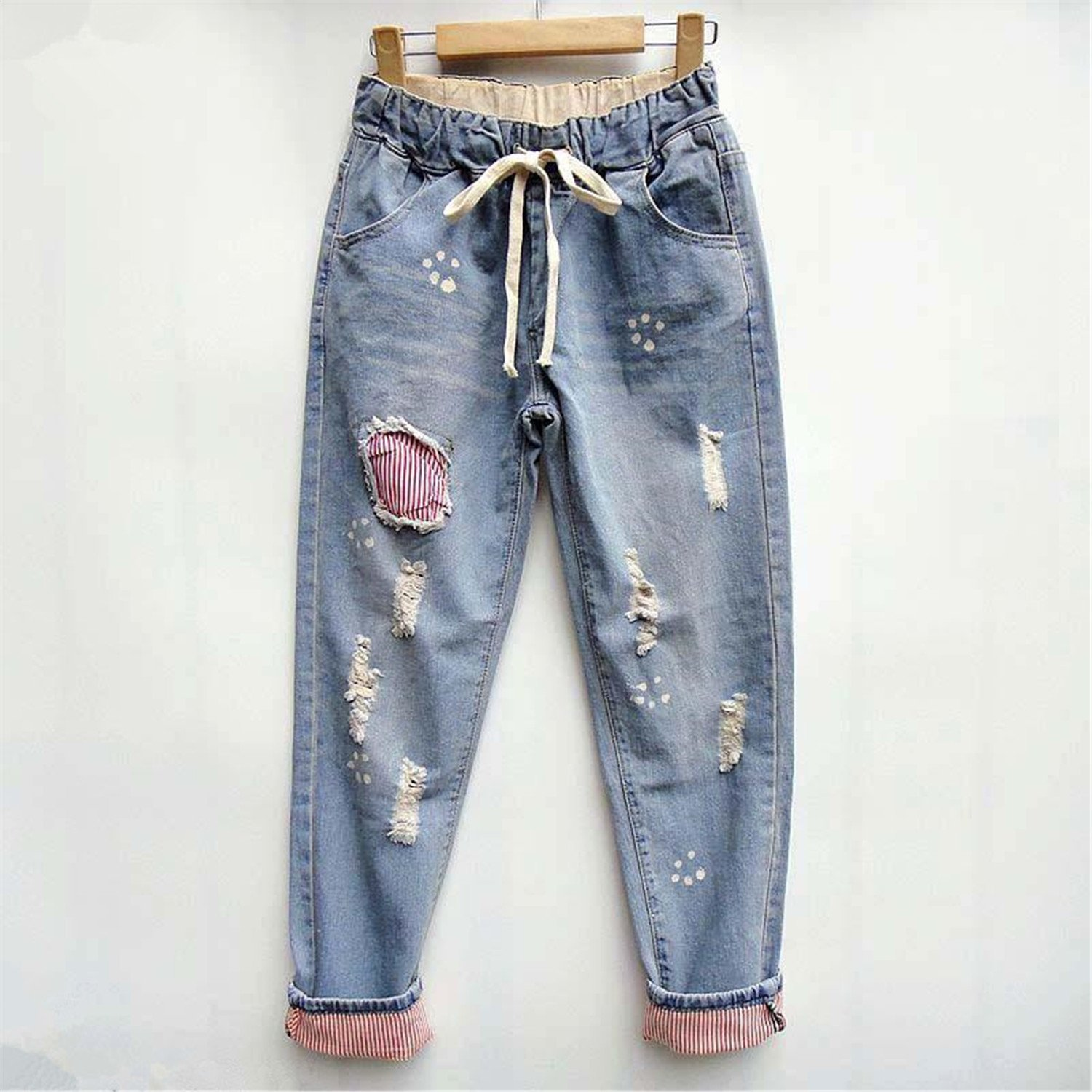 Hoared 2017 Plus Size Woman Cool Patchwork Ripped Jean ...