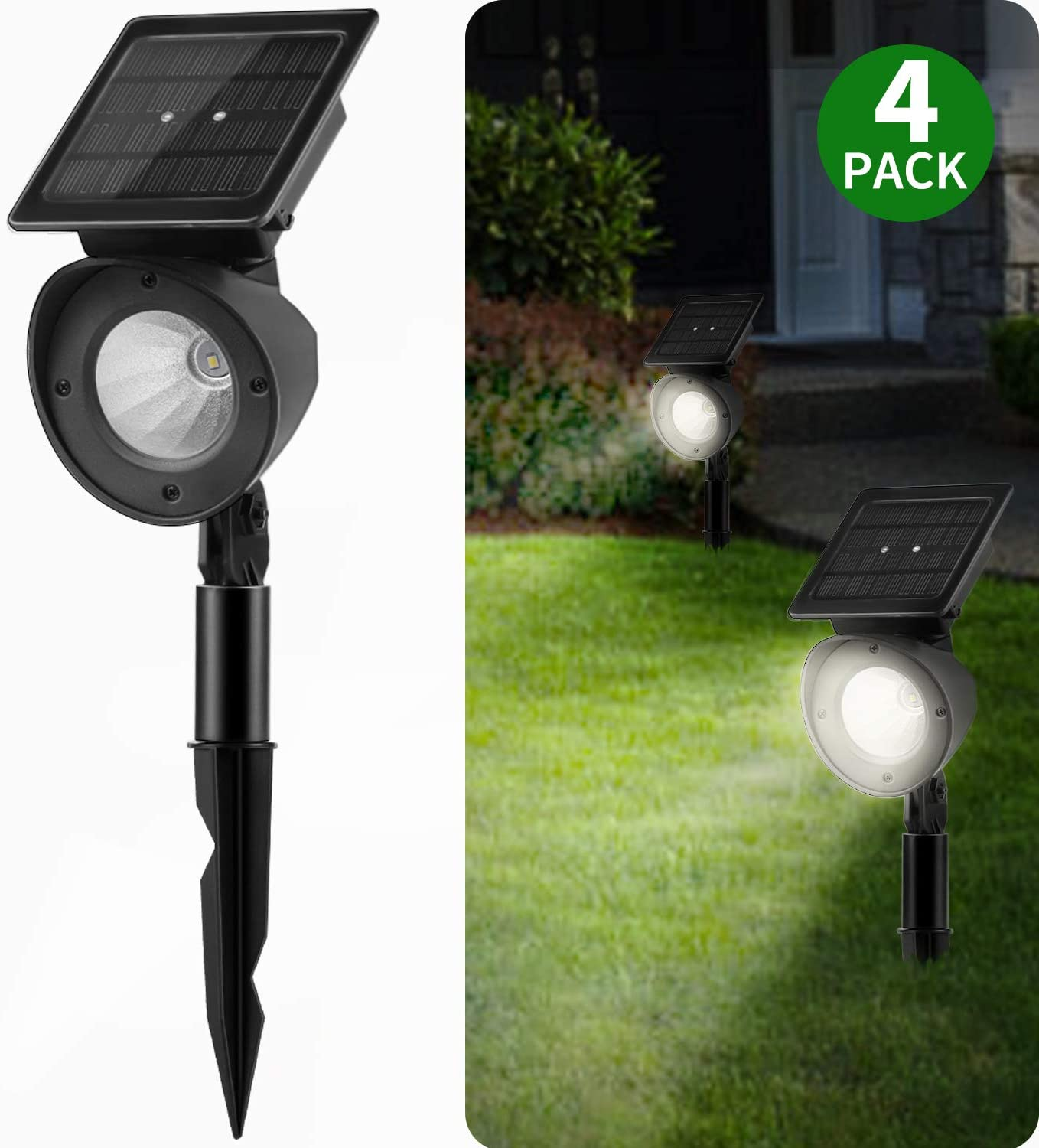 Solar Landscape Spotlights, Brightown Waterproof Adjustable Outdoor Led Spot Lights Wireless Automatic Landscaping Light for Yard Driveway Garden Pathway Lawn Walkway Pool Patio Pack of 2 - -