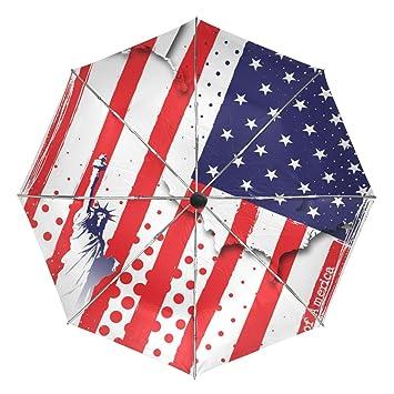 baihuishop la bandera americana resistente al viento Golf Paraguas Auto abierto cerca de 3 plegable resistente