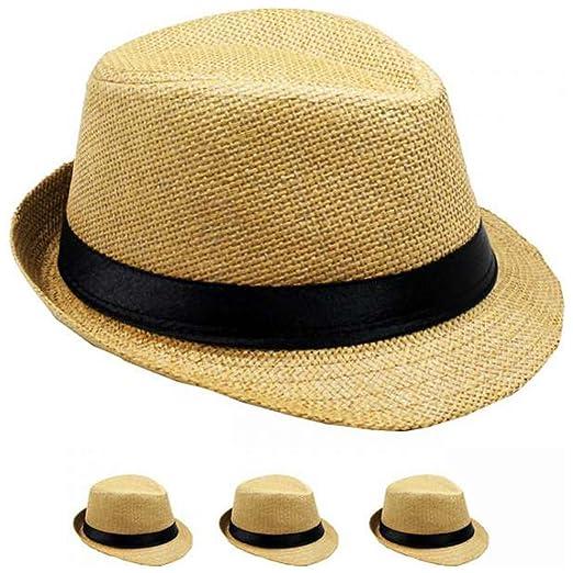 9edfba70f LAFashionist Kids Boy Girls Straw Fedora Hat Summer Trilby Hats (Natural)