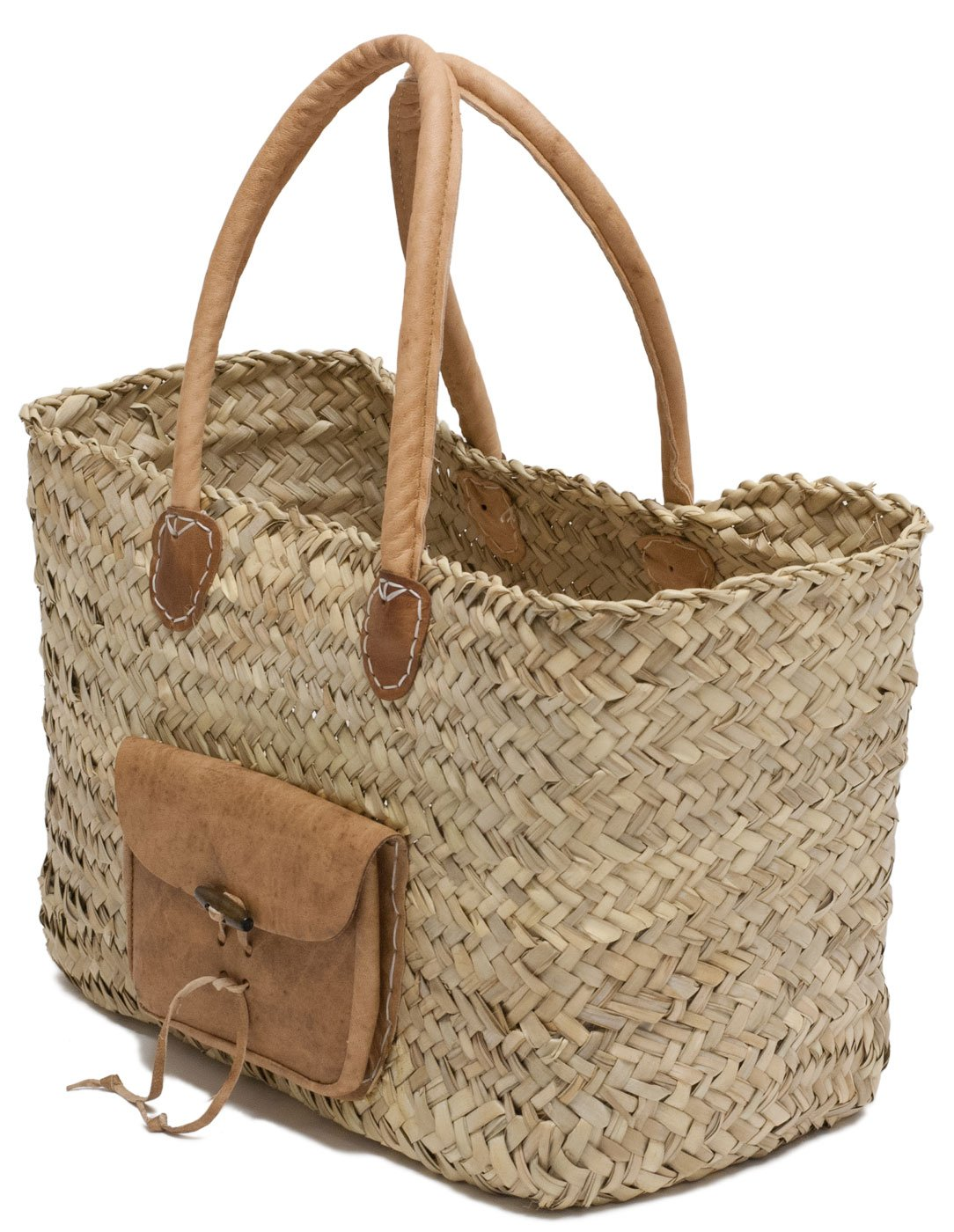 20Lx7Wx11H Moroccan Straw Tote Bag w//Brown Leather Handles /& Pocket Nice