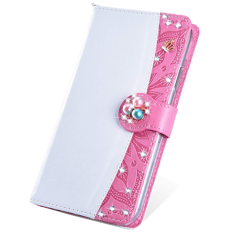 SainCat Coque Compatible avec iPhone XR Portefeuille Strass Ultra Mince Flip Cuir Bling Bling Cover Fonction Support Antichoc Bumper Étui Case-Or Rose et Gris