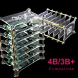 Yahboom Raspberry Pi Cluster Case 6-Layers Acrylic Dog Bone Plate Stack Clear Case Box Enclosure Case for Raspberry Pi 4B / 3B+ / 3B / 2B / B+ (Without Raspberry Pi)