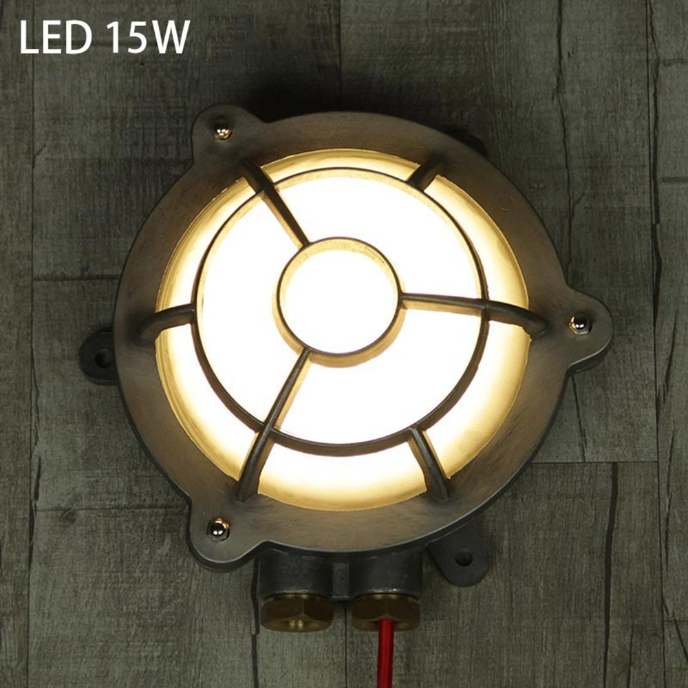 Lámpara de pared Zhang Americano Estilo Industrial Retro Redondo Creativo LED Aire Libre Baño A Prueba De Explosiones Estufa De Gas Luces De Pared ...