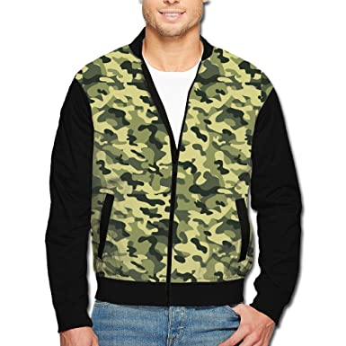 ef19ef4c2c538 Image Unavailable. Image not available for. Color: VVGHOPOI Men's Green  Camouflage 3D Printed Front Zipper Long Sleeve Bomber Baseball Uniform  Jacket ...